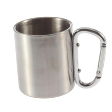 1pcs new stainless steel double wall isolating travel mug/cup w/ Aluminium carabiner hook handle,outdoor&camp life Brand New