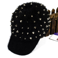 high quality Bigbang personality jazz hat baseball cap Unisex Spike Studs Rivet Rabbit Fur Hat Punk style Rock Hiphop For Pick