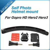 Self Photo Helmet Extension Arm + Quick-Release Buckle + Curved Adhesive Mount + Screw for Gopro Hero HD Hero 1 Hero 2 Hero 3
