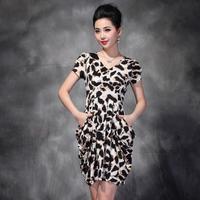 Fashion Famous Designer Plus Size Sexy Casual Leopard Vestido Clothing European Short Sleeve Ladies Dress Women's Dress new