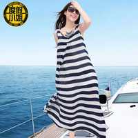 2014 Time-limited Real Sleeveless Cute O-neck Dresses Shipping Plus Size Beach Dress Bohemia Stripe Chiffon One-piece Navy Style