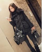 Free Shipping Korea autumn winter fashion women's coat thermal wadded  jacket cotton-padded outerwear rabitts hair collar
