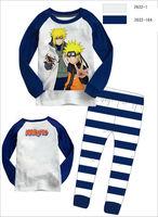 Cartoon Kids producet Naruto children pajamas spring clothing set 100% cotton long sleeve clothes suits Top shirt + stripe pants