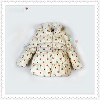 hildren scarf collar bear pattern down jacket for girls winter outwear fashion child clothing SCG-1026D Free Shipping 2013 Russ