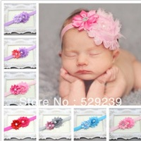 Free Shipping  Baby Girl Shabby Flower Fold Elastic Headbands with pearl wholesale,10 pcs/lot