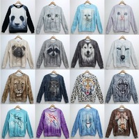 2014 Fashion Women/Men Animal Wolf 3D Print Sweatshirts Tiger/Cat/Lion/Dog Fleece Hoodies Sweaters Tops Lovers Free Shipping