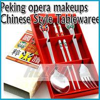 3pcs/set free ship Chinese style stainless steel tableware outdoor Peking opera makeups Dinner Set spoon+fork+chopsticks
