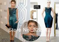 Elie Saab Silk Satin Shiny Beads and Sequins Elegant Knee-length Short Celebrity Party Cocktail Dresses