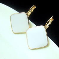 655 charm angel white glaze square button new fashion gold plated dangle earrings for women lot jewelry wholesale free shipping