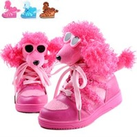 2013 winter child dog snow boots male female child cotton-padded shoes boots three-dimensional cartoon parent-child