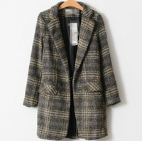 2014 Spring and autumn women's plaid woolen outerwear ,South Korea fashion trench coat, brand jacket ,spring coat for women