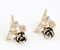 Fashion 18K Gold Plated CZ Rinestone Eiffel Tower Earrings Rose Flower Earring With CZ Rhinestone