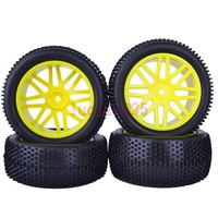 6613AS SET RC 1/10 Off-Road Buggy Car  Front & Rear Foam Rubber Grain Tyre Tires & Yellow Wheel Rim