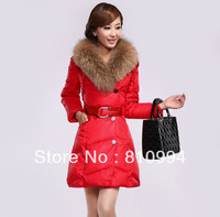 EMS free shipping 2013 fashion down coat large fur collar slim medium-long women's down cotton-padded jacket 1339
