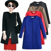 2014 Spring and autumn women's brief o-neck woolen outerwear ,fashion medium-long trench coat,spring brand jacket for women