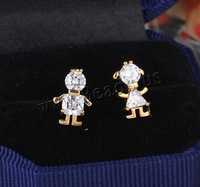 Free shipping!!!Brass Stud Earring,Famous, Character, 18K gold plated, with cubic zirconia, nickel, lead & cadmium free, 13.5mm