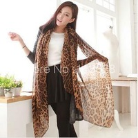 winter hot sale classic leopard dots wrinkle scarf shawls brown long voile scarves wraps for ladies gift xmas good quality GME22