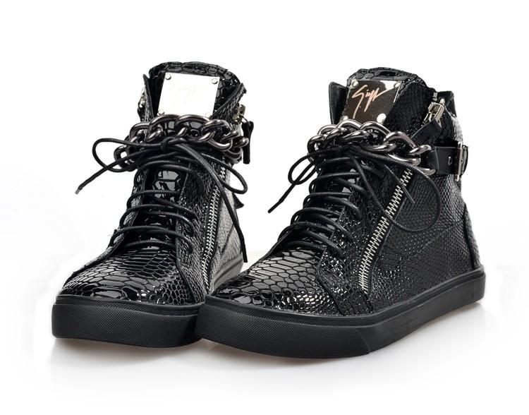 Frete grátis Gz tênis de cano alto novo esporte sapatos de couro cadeia de patente chegada moda plana sapatos casuais para homens e mulheres de sapatos(China (Mainland))