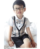 New 2013 baby boys tie gentlemen 2pcs clothing set shirt + pants A29 top quality
