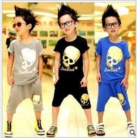 New 2013 baby boys skull clothing sets child kids tracksuits carter wears for Christmas A29