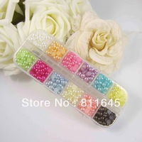 Free shipping 4mm mix color imitation pearls half round flat backs collection with box for scrapbooking(1800pcs/lot)
