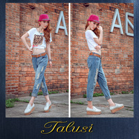 Selling Women's Jeans Collapse Pants Harem Pants Loose and Comfortable Hole Women's Denim Pantyhose 8759#