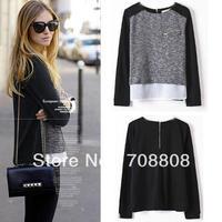 New 2014 Fashion Winter Autumn Long-sleeve Sweater Patchwork Loose Chiffon Shirt  Winter Zipper Knitwear Sweater Wholesale
