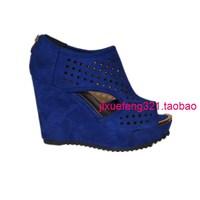 13 wedges fashion open toe cutout gladiator blue ultra high heels sandals scrub