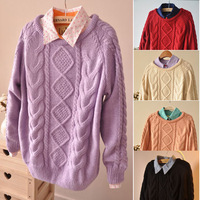 2014 Autumn Winter Clothes New Korean Long Pullover Women Jacket Sweater Geometric Pattern Bottoming Loose Sweatshirts 8919