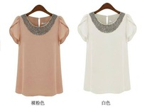 XS-4XL !! EU 2014 New fashion women Loose Big size chiffon casual vintage Blouses/Beading O-neck,Pullover summer costume shirts