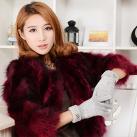 Wool gloves winter male women's lovers thermal yarn plus velvet thickening finger gloves