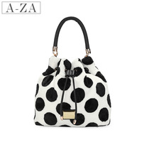 Aza 2013 women's messenger bag handbag bag black and white polka dot 8088 plush handbag