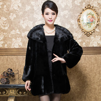 2013 marten overcoat Women cap ruffle collar marten velvet leather coat luxury fur