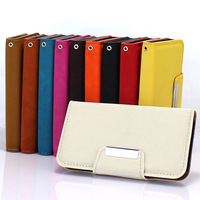 Deluxe Leather Flip Hard Metal Magnetic Style Card Clip Cover Case For iPhone 4G 4S Holster Fashion Stand Wallet Bag