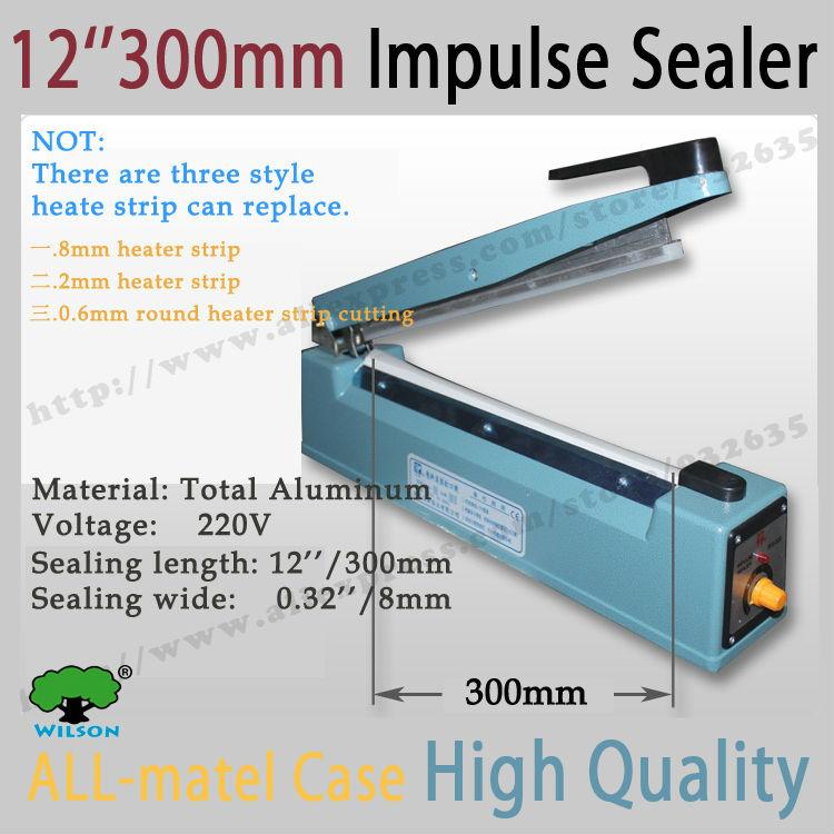 "Good quality all-matel 12"" /300mm sealing length and 8mm wide sealing Heat Sealer Machine Heat Sealing  hand Impulse Sealer(China (Mainland))"