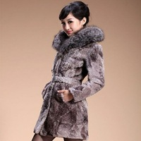 Wool and fur in one female outerwear fur overcoat leather clothing female medium-long fur coat paragraph quinquagenarian mother