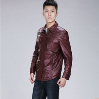 Leather coat male genuine sheepskin leather clothing shirt genuine leather top
