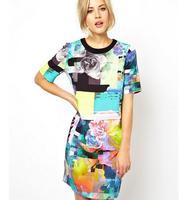 New Women's Brand Design Casual Dress For Lady Printing Flower women dress