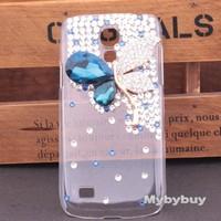 Luxury 3D Butterfly Crystal Diamond Rhinestone Case For Samsung Galaxy S4 Mini I9190, For Galaxy S4 Mini Bling Case.