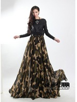 Free Shipping 2013 Autumn New Women Europe Fashion Party long Sleeve Black Long Dress pu leather patchwork maxi dress size S-XXL