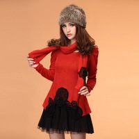 New 2014 winter and autumn cute sweety slim plus size elegant patchwork long-sleeve dress female Splicing sweater veiled dress