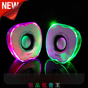 Original 100% Subwoofer 1 Crystal Apple Mini IE80 Loudspeakers USB for mini Computer SPEAKER with LED Colorful(China (Mainland))