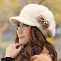 Winter hat female winter thermal rabbit fur hat bow fashion knitted hat cap