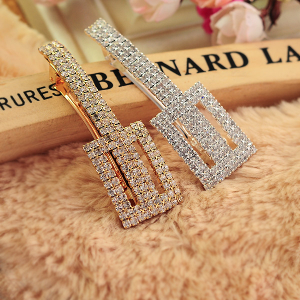 2711 accessories full rhinestone hair accessory rectangle strap long hairpin hair accessory side-knotted clip female(China (Mainland))