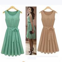 Women's Summer Dress 2014 New Fashion Sleeveless Vest Chiffon dress Pleated O-neck Casual Dress Free Belt Free shiping