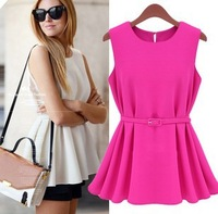new 2013 summer dress women fashion Chiffon dress pleated short design dresses free shipping to brazil