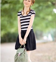 Summer  fashion women's Short-sleeve Dress bowknot patchwork Striped skirt  British cotton dress for Ladies,Free Size