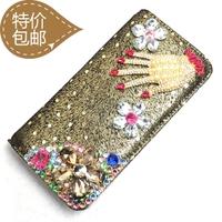 Hot-selling diamond clutch long design single zipper wallet fashion women's genuine leather wallet with diamond