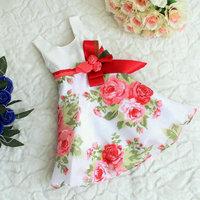 Can Fit 3T-6T, Kids Summer One-piece Tank Dress ,Girls Flower Party Dress With Bow, Girls Princess Dress
