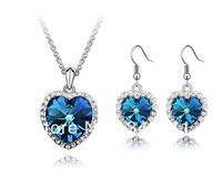 Product name Titanic Memorial Necklace Earrings Set - Heart of Ocean  5533